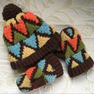Vintage knit hat and mittens set